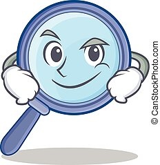 Smirking magnifying glass character cartoon