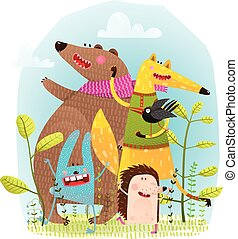 Bear Fox Hedgehog Rabbit and Crow Funny Friends