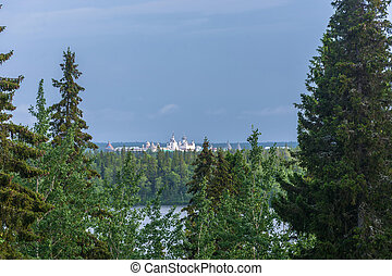 Kind on the Solovetsky monastery. - View of the Solovetsky...