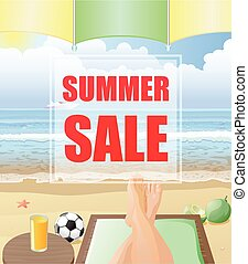 Summer sale poster with beach background vector - Vector...