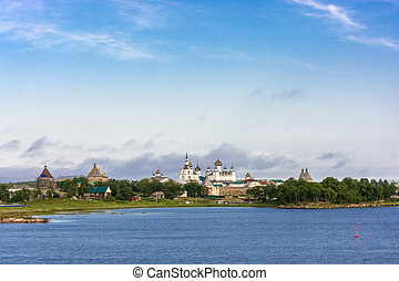View on Solovetsky monastery from the White sea. - View of...