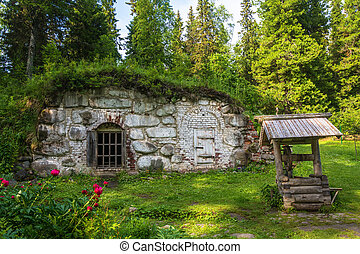 Old cellar in the Botanical garden on Solovki. - Old cellar...
