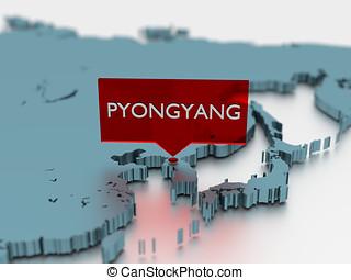 3d world map sticker - City of Pyongyang