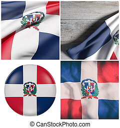 Dominican Republic flag waving - Composition of four 3d...