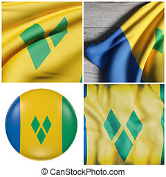 Saint Vincent and the Grenadines flag waving - Composition...