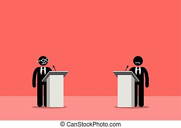 Politicians debating on the stage. - Vector artwork depicts...
