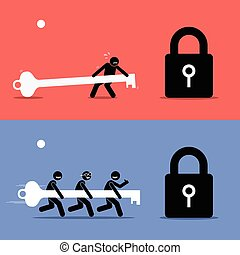 Teamwork vs Working Alone. - Vector artwork depicts the...