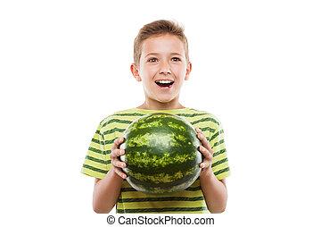 男の子, フルーツ, スイカ, 子を抱く, 緑, 微笑, ハンサム