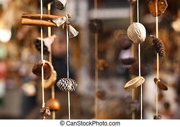 mão, feito, Natal, Ornamentos, 2