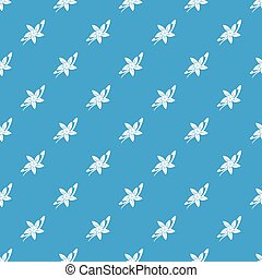 Vanilla sticks with a flower pattern seamless blue