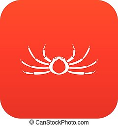 Japanese spider crab icon digital red