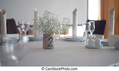 served table in restaurant for a wedding dinner.
