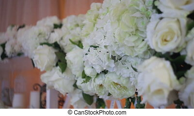 Wedding decor of real flowers. Place for a photo shoot