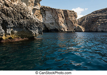 Blue grotto seen from a boat trip. Malta - Blue grotto caves...