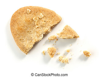 Cookie pieces and crumbs isolated on white background, top...