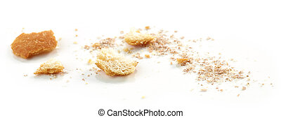 Bread crumbs macro isolated on white background, selective...