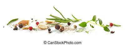 Bread crumbs and spices macro isolated on white background