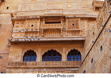 Jaisalmer, Rajasthan, India. Traditional Indian architecture...