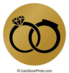wedding rings gold icon