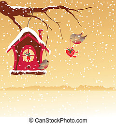 Christmas greeting robin birds - Christmas greeting robin...