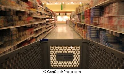 Shopping Cart in the Grocery Store u2013 Time Lapse