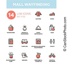 Mall wayfinding - modern simple icons, pictograms set - Mall...