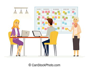 Office Kanban planning system - modern vector business...