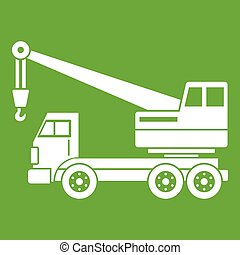 Truck crane icon green - Truck crane icon white isolated on...