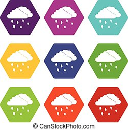 Clouds and hail icon set color hexahedron - Clouds and hail...
