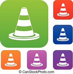 Traffic cone set collection - Traffic cone set icon in...