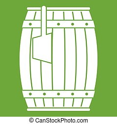 Wooden barrel with ladle icon green