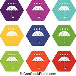 Umbrella and rain drops icon set color hexahedron - Umbrella...