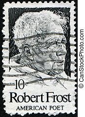 american poet Robert Frost - USA - CIRCA 1980: A stamp shows...