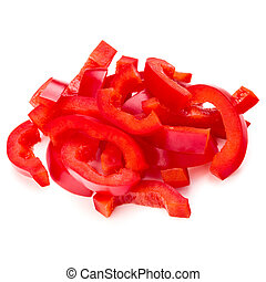 Red sweet bell pepper sliced strips isolated on white...