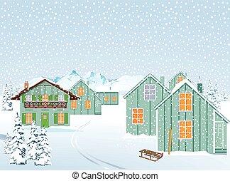 Dorf im Schnee.eps - Snowy village in winter landscape in...