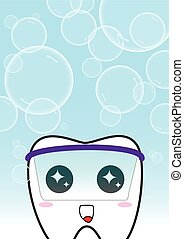 Tooth vector background with bubbles. Cute cartoon tooth
