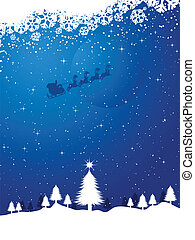 Santa on a snowy night - Winter landscape with santa flying...