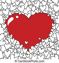 Valentine's Day Heart Background - Hand-drawn Valentine's...