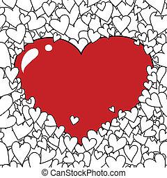 Valentine's Day Heart Background - Hand-drawn Valentine's...