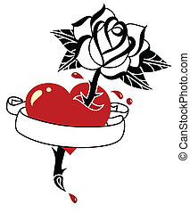 Tattoo style heart, rose and banner