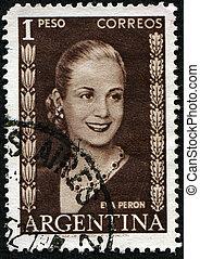 Eva Peron - ARGENTINA - CIRCA 1948: A stamp printed in...