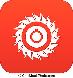 Circular saw disk icon digital red