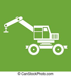 Crane truck icon green - Crane truck icon white isolated on...