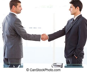 Serious businessmen shaking their hands after a meeting at...
