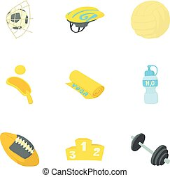 Sport things icons set, cartoon style - Sport things icons...