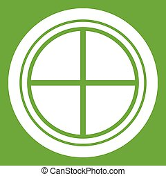White round window icon green - White round window icon...