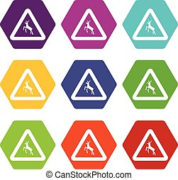 Deer traffic warning sign icon set color hexahedron