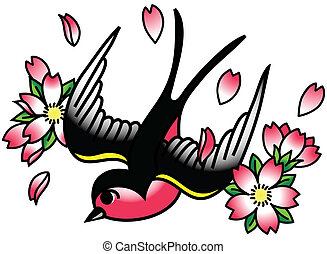 Songbird and Cherry Blossoms - A tattoo-style drawing of a...