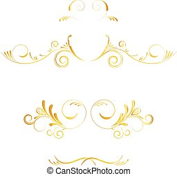 Set of page decoration golden elements on white background....