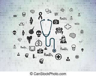Health concept: Stethoscope on Digital Data Paper background